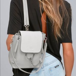 LULUS SIDEWALK STUNNER GREY BACKPACK